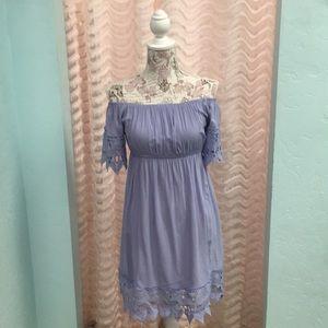 Haute Monde Periwinkle off the Shoulder Dress